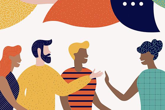 Illustration of people conversing