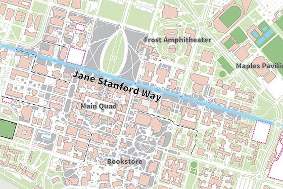 Map of Jane Stanford Way