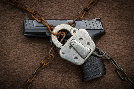 Getty image of locked gun