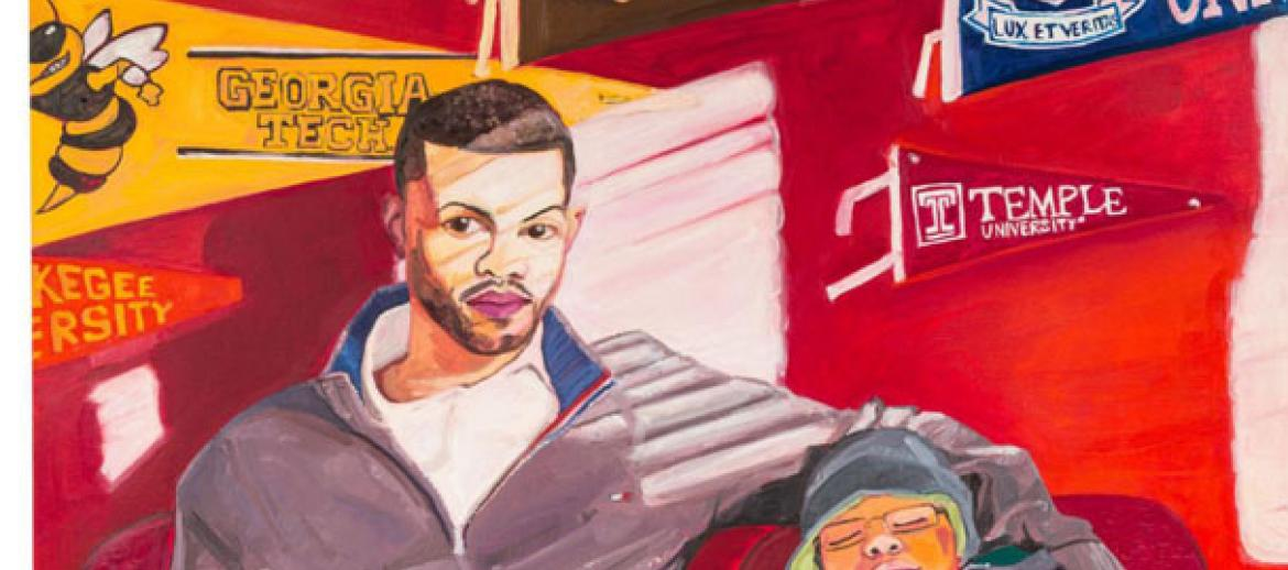 (Detail) Jordan Casteel, (U.S.A., b. 1989), Marcus and Jace, 2015. Oil on canvas, 72 x 54 in. Adam Green Art Advisory on behalf of a private collection. © Jordan Casteel.