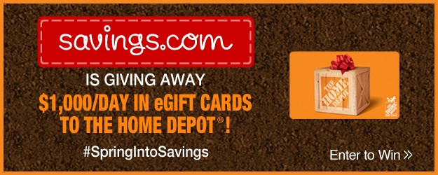 Savings.com Home Depot Gift Card Giveaway