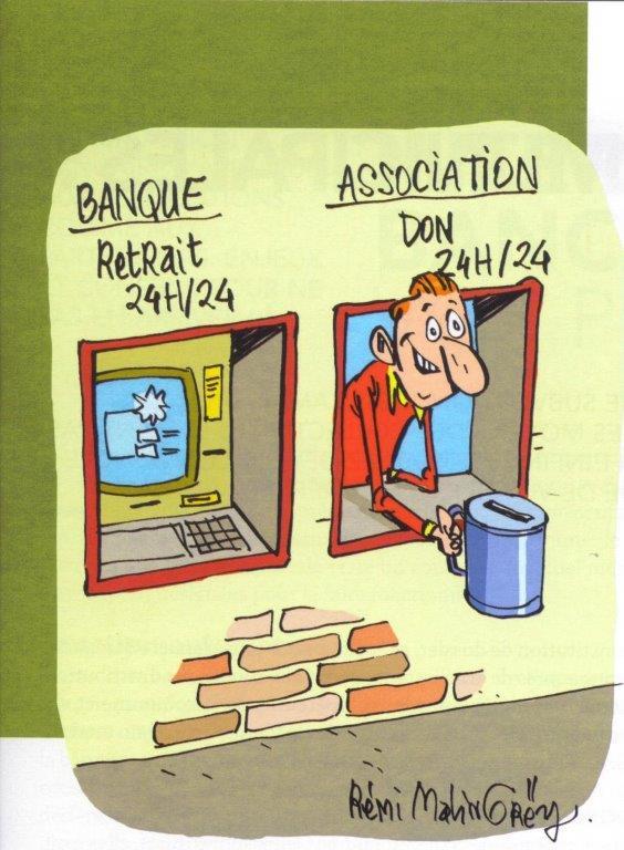Dessin Banque retrait 24h sur 24, Associations dons 24h sur 24