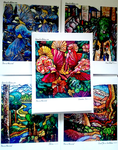 Terra Guitarra Art notecards available $10 for 5 assorted designs
