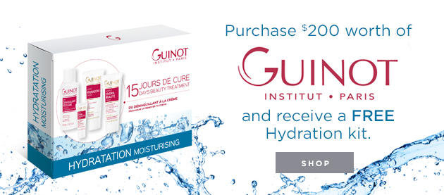 Purchase $200 worth of Guinot products and receive a FREE Hydration Kit