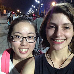 Sophie Anderson with her language partner at Olympic Park in Beijing. (Sophie Anderson)