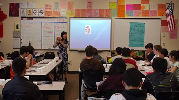 Ms. Sun Burford teaches her class at Tyee Middle School in Seattle.