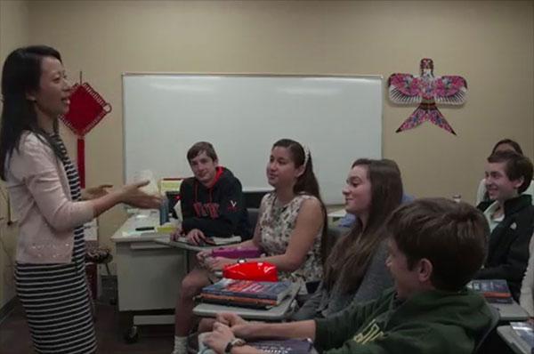 Zhangyi Shi teaches her high school class.