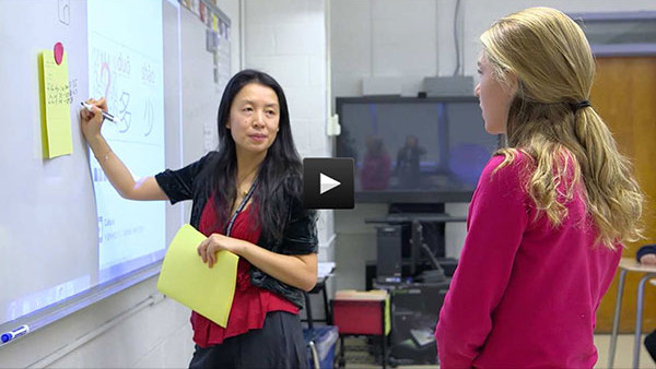 Ms. Yiyu Liu teaches her 6th grade novice-mid Chinese class at Blake Middle School in Medfield, Massachusetts.