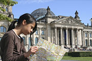 Looking at a map in Berlin