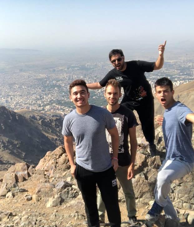 Kusha Ansari, front left, hiking Mount Tochel with friends.