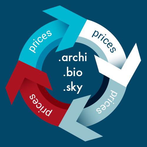 .archi, .bio, .sky domeinen