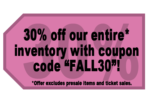 "30% off inventory items with coupon code ""fall30"""
