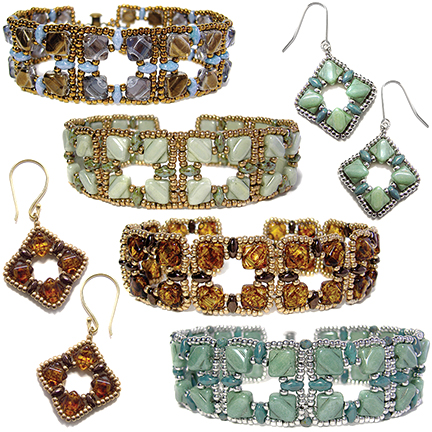 Silky Squares Bracelet and Earrings pattern at AroundThe BeadingTable.com
