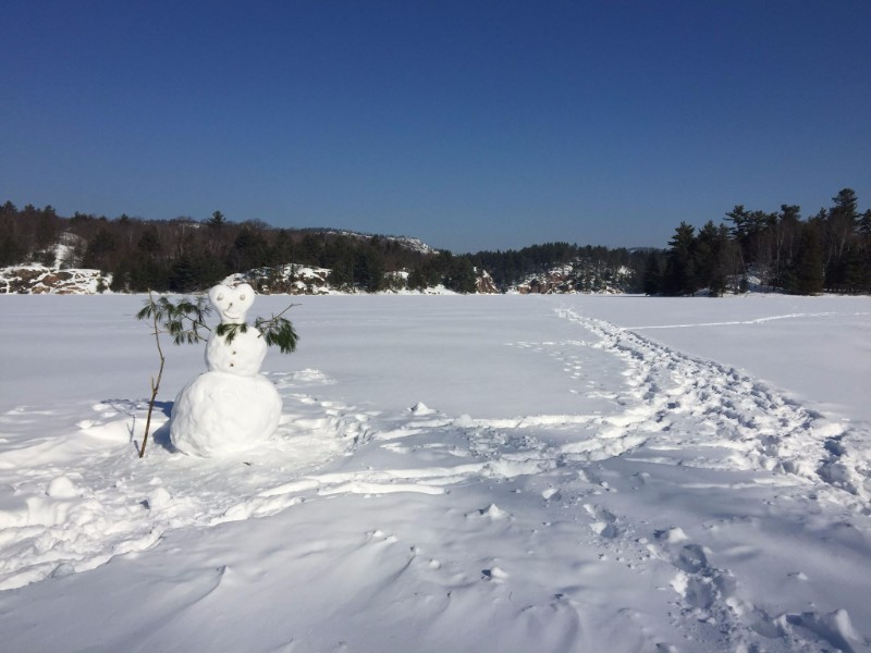 A snowman on ice and snow covered George Lake.