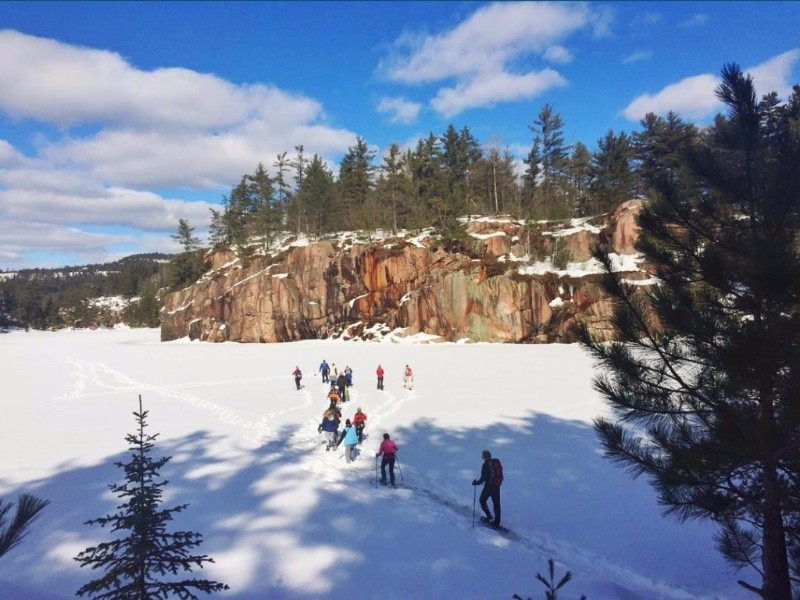Sunny skies in Killarney Provincial Park for a guided snowshoe hike.
