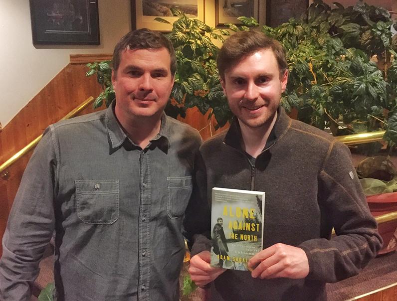 FOKP Executive Director Kris Puhvel (left) with presenter Adam Shoalts (right) at the Killarney Bay Inn.