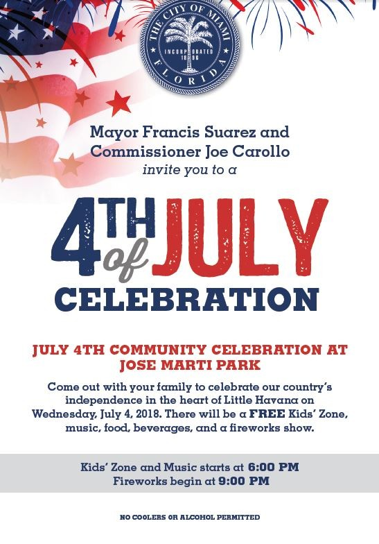 Mayor Suarez and Commissioner Carollo to celebrate Fourth of July with residents