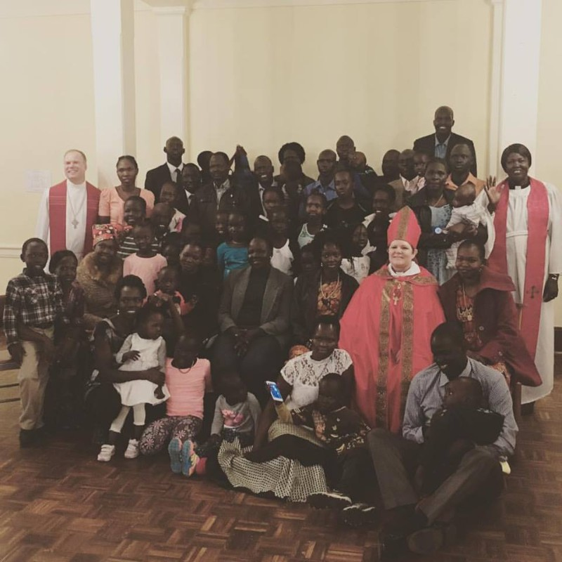 Bishop DeDe with St. Paul's South Sudanese congregation