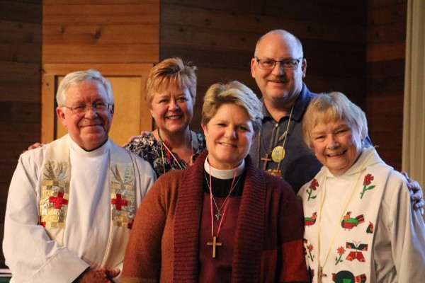 Bishop-elect Duncan Probe with The Rev. Nick Smith, The Rev. Toppie Bates, and Judi and Dan Brayer