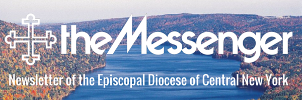 """image description: the masthead of The Messenger. The words """"The Messenger Newsletter of the Episcopal Diocese of Central New York"""" and the square diocesan cross logo are overlaid on an image of one of the finger lakes in autumn"""