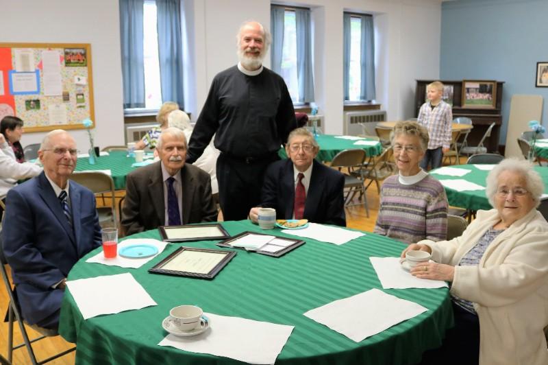 Fr. Haugaard with five elders