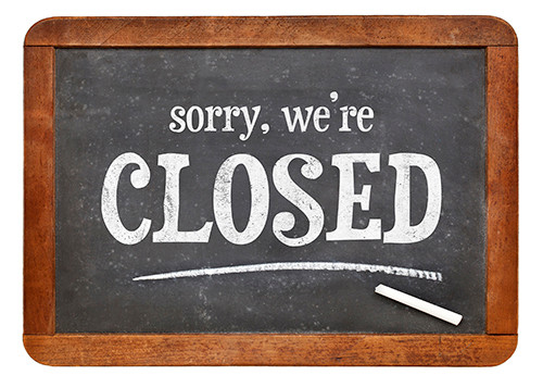 CLOSED chalkboard sign