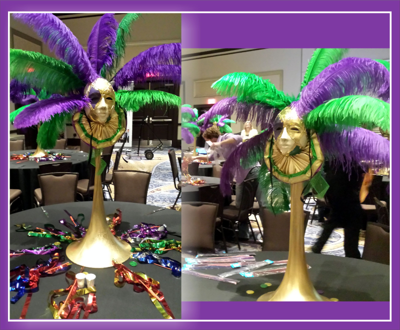 Uniquely DC Ostrich Feather Centerpieces celebrate Mardi Gras
