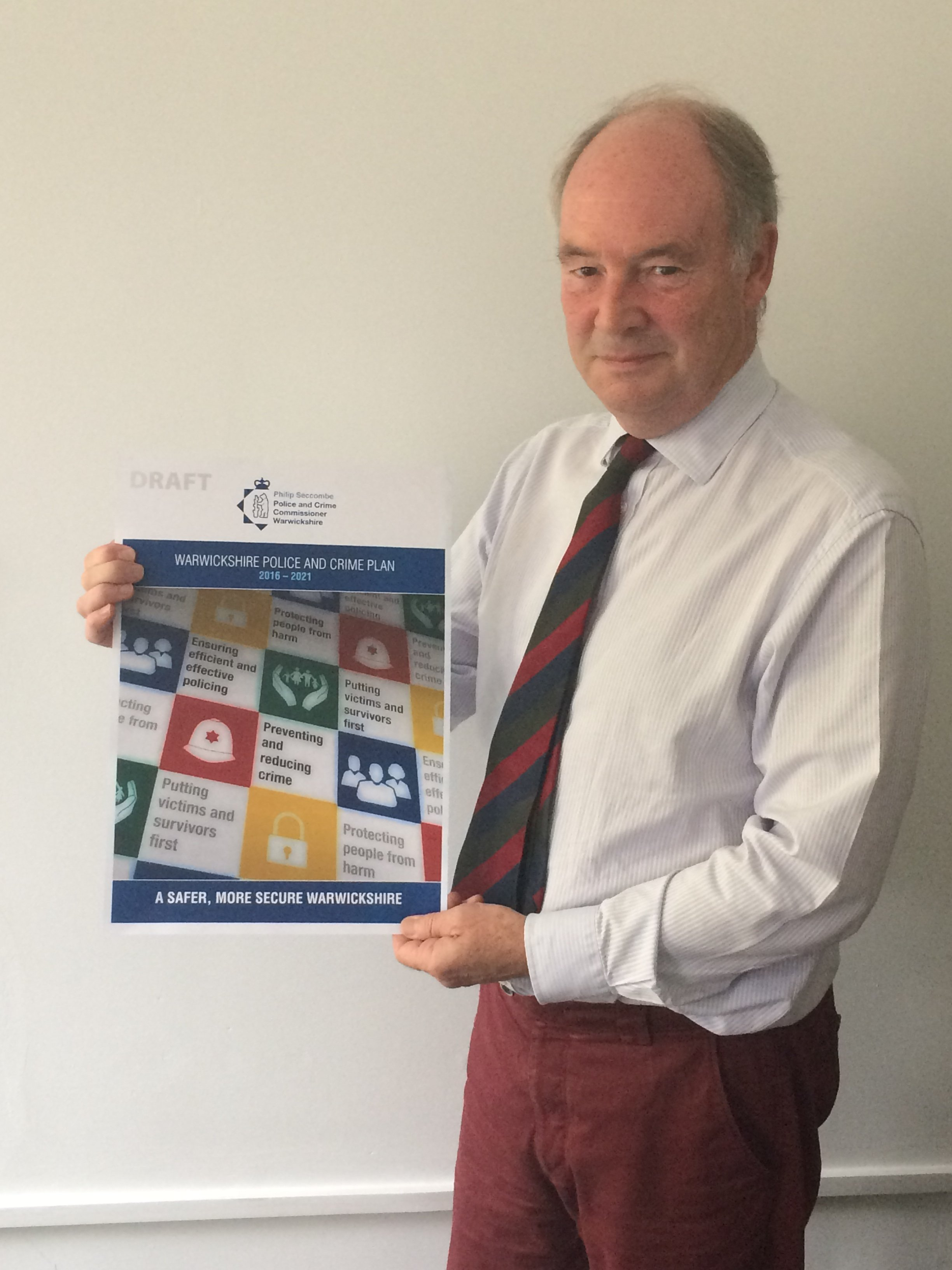 PCC Philip Seccombe with the draft Police and Crime Plan