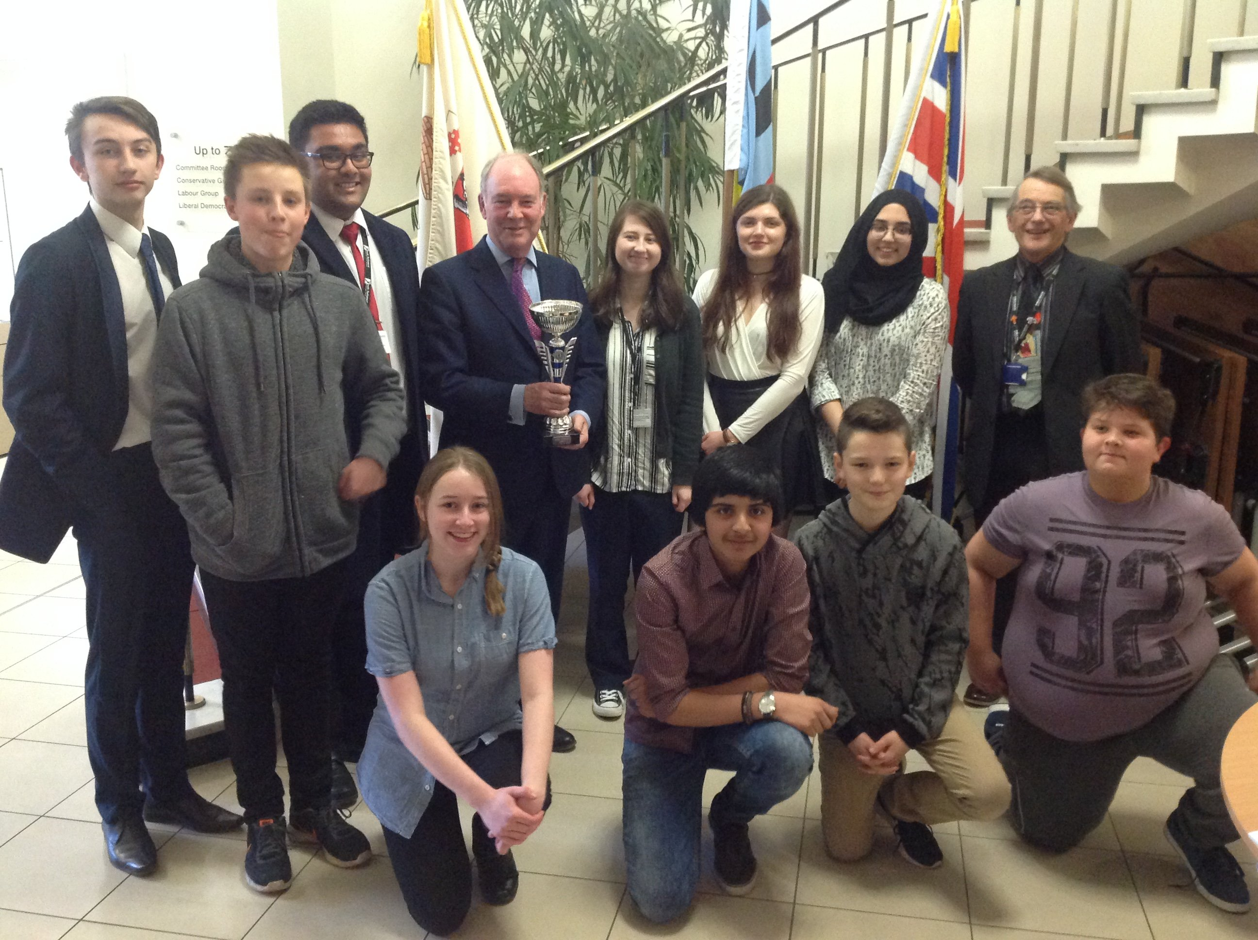 Philip Seccombe with Councillor Les Caborn and members of the Warwickshire Youth Parliament at the One Voice event