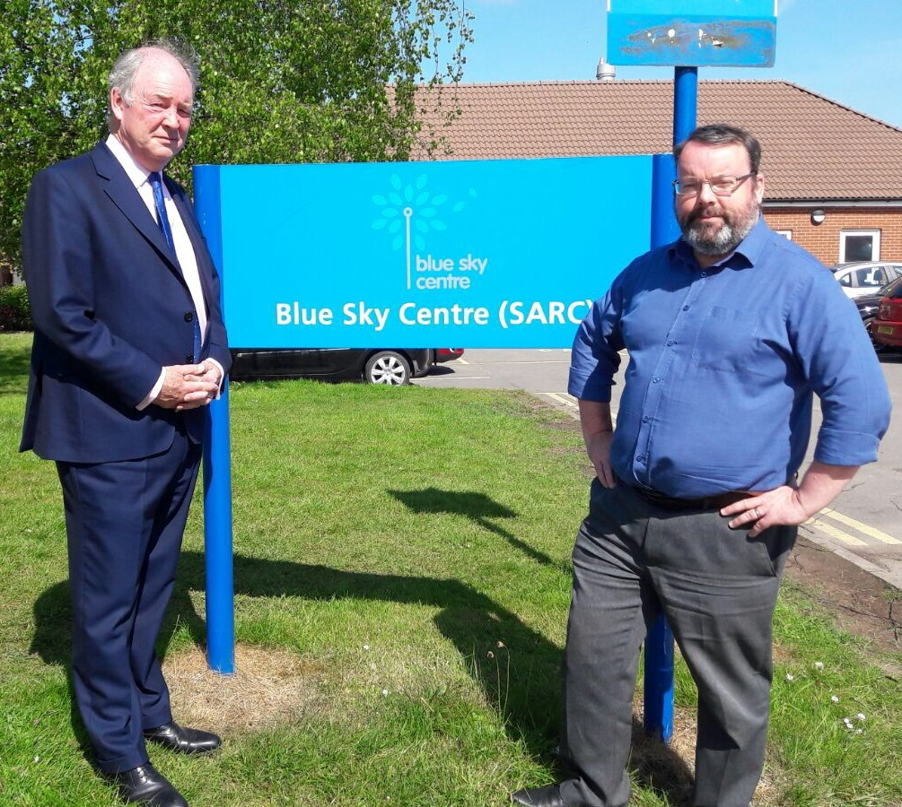 Warwickshire PCC Philip Seccombe at the Blue Sky Centre with manager Tony Mumford