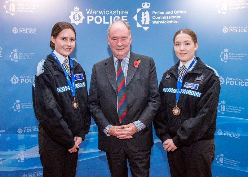 Chloe Lloyd and Grace Kay with PCC Philip Seccombe