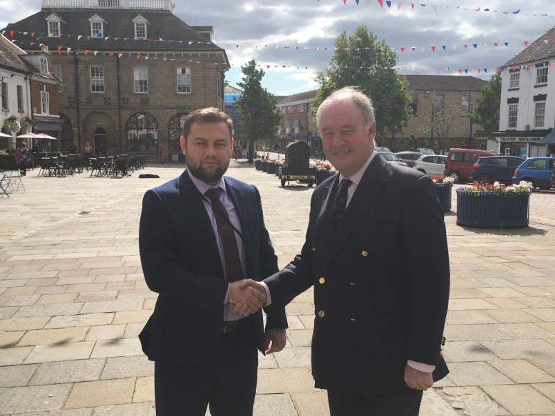 Bogdan Fironda with PCC Philip Seccombe in Warwick Market Square