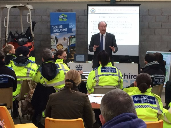 Philip addressing the officers and PCSOs