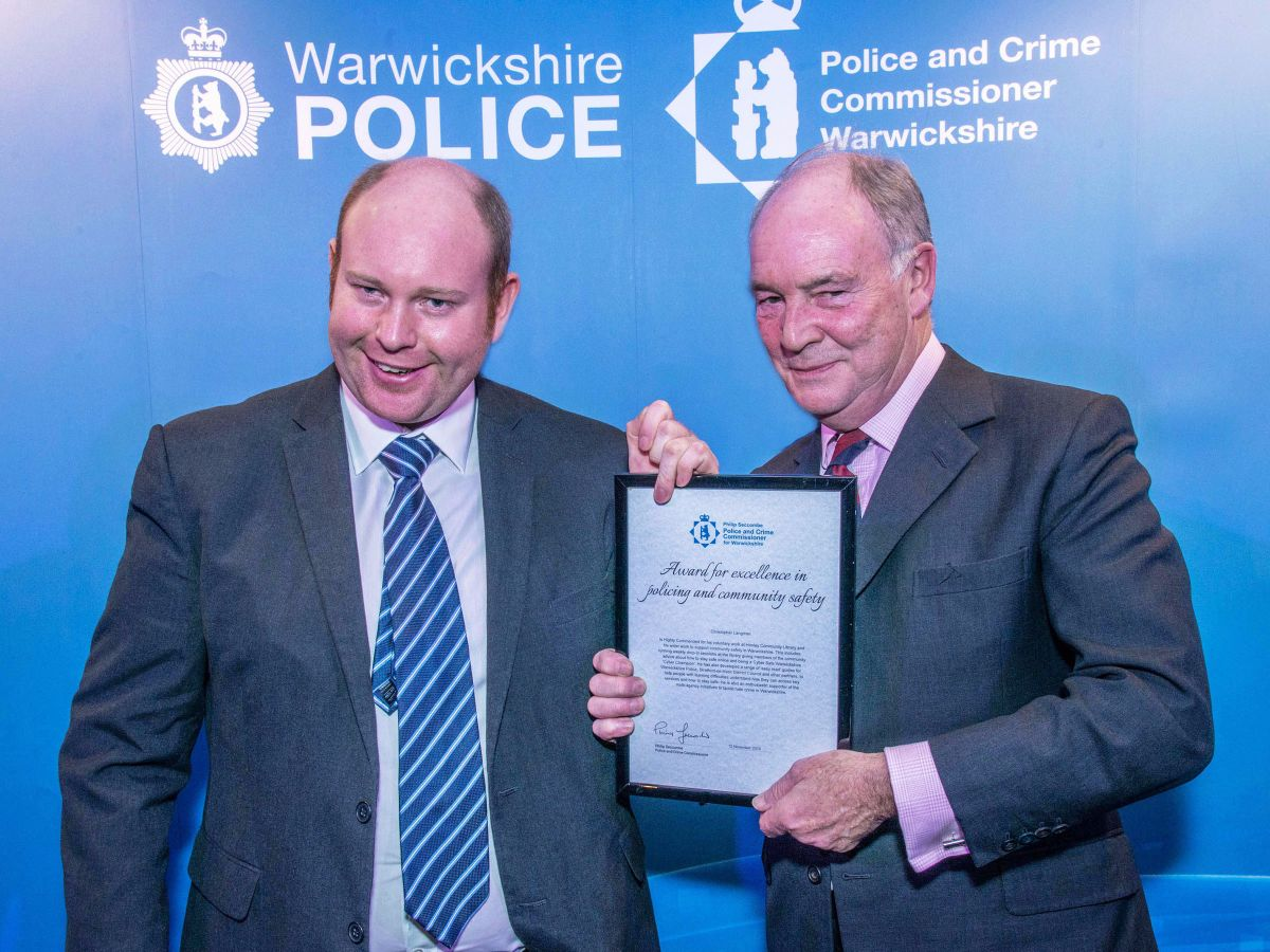 PCC Philip Seccombe with Christopher Langman, who received a 'Highly Commended' certificate.
