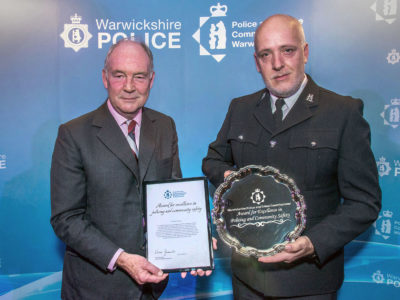 Handing the award to PC Stephen Croshaw