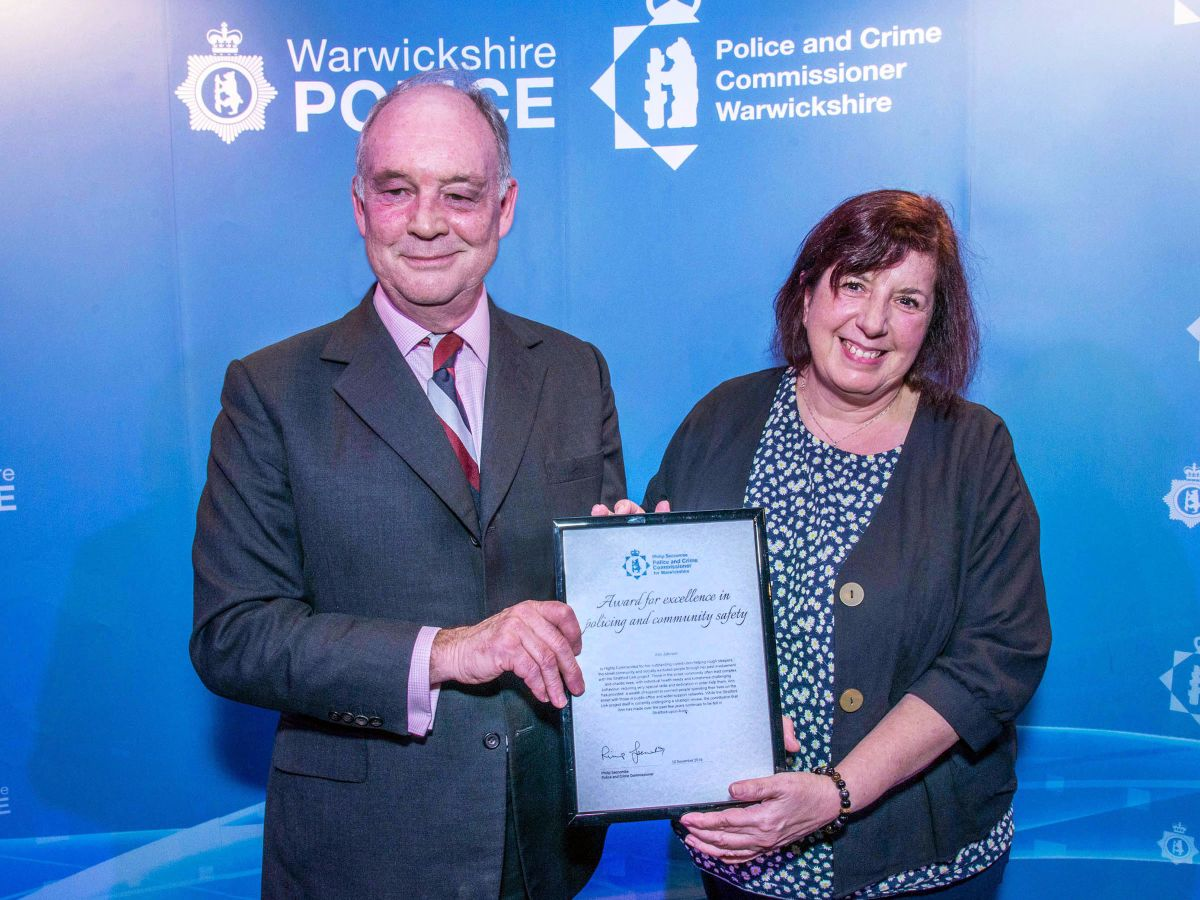PCC Philip Seccombe with Ann Johnson, who received a 'Highly Commended' certificate
