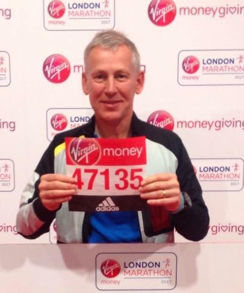 Chris Lewis with his London Marathon start number
