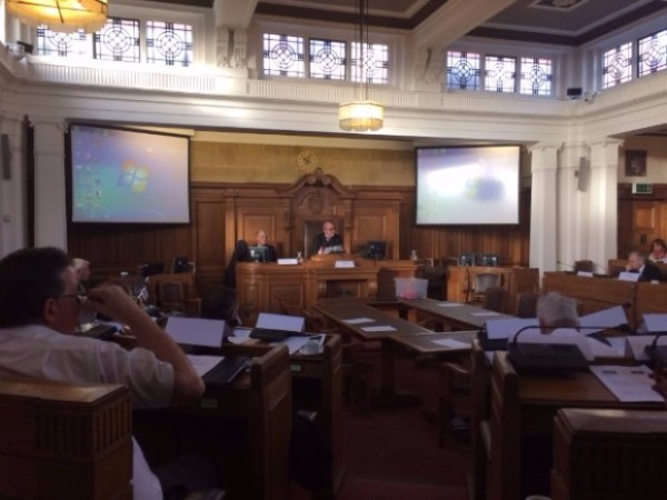 Philip chairing the meeting at Nuneaton Town Hall