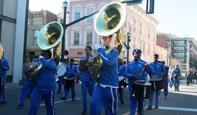 A marching band in the MLK Parade