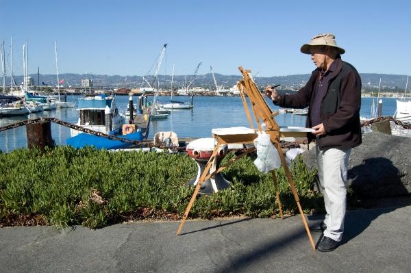 (image) Plein Air artist Rolando Barrero at Encinal Yacht Club
