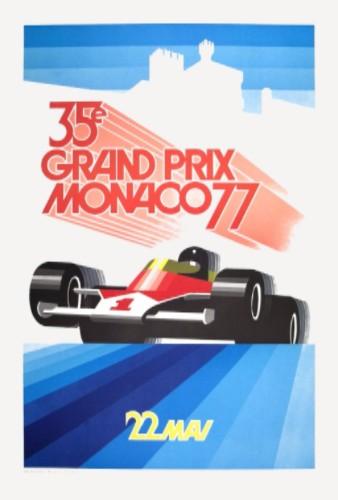 1977 Roland Hugon Poster Monaco Grand Prix