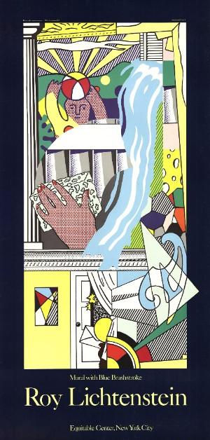 roy lichtenstein mural with blue brushstroke poster silkscreen serigraph big large