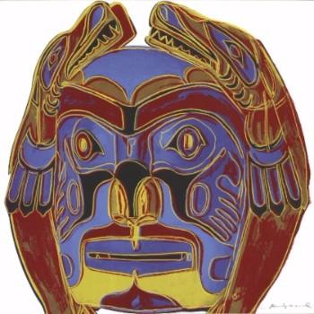 andy warhol silk screen print northwest coast mask