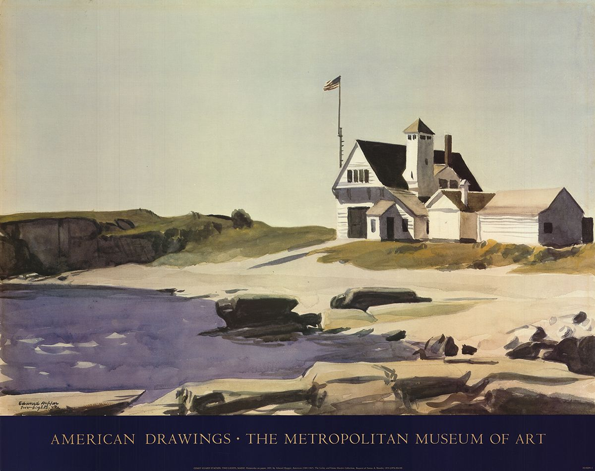 edward hopper coast guard maine metropolitan museum of art american drawings poster