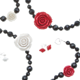Rose earrings, necklace and bracelet