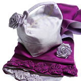 Silk wraps, bags and corsages