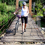 Anne biking in Thailand