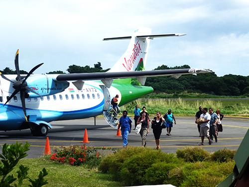 getting off an Air Vanuatu Plane