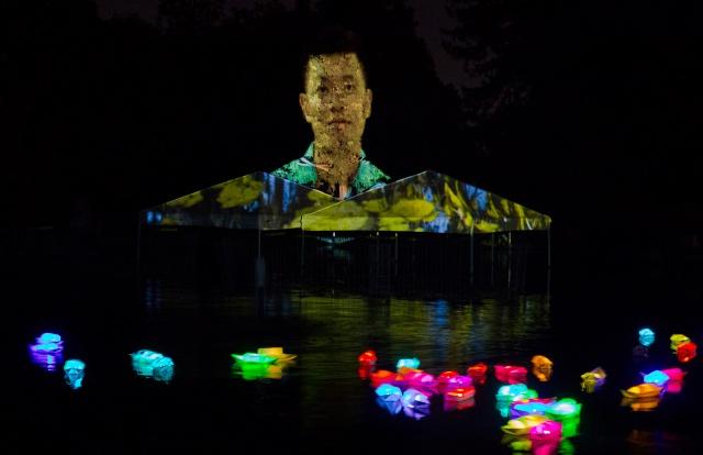 Robin Lasser, Dream Boats: San José Stories – Vietnamese Diaspora, 2018; video projection mapping installation. Photo courtesy of Robin Lasser.