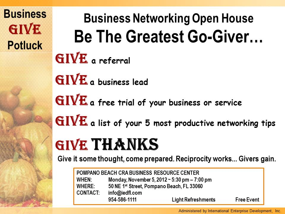 Give Business Networking Open House CRA News & Update